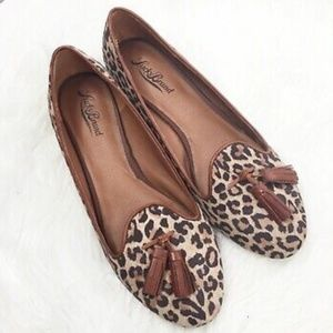 Lucky Brand Suede Leather Leopard Tassel Loafers